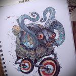 эскиз тату козел №794 - крутой вариант рисунка, который удачно можно использовать для преобразования и нанесения как тату череп козла