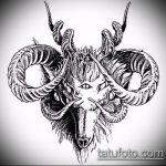 эскиз тату козел №25 - эксклюзивный вариант рисунка, который хорошо можно использовать для доработки и нанесения как тату козел и ножи атомы