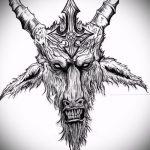 эскиз тату козел №360 - крутой вариант рисунка, который легко можно использовать для преобразования и нанесения как тату козел олдскул
