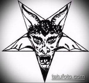 эскиз тату козел №111 - классный вариант рисунка, который удачно можно использовать для переделки и нанесения как тату козел и ножи атомы