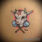 эскиз тату козел №633 - уникальный вариант рисунка, который хорошо можно использовать для доработки и нанесения как тату череп козла