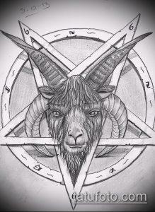 эскиз тату козел №288 - достойный вариант рисунка, который удачно можно использовать для доработки и нанесения как тату козел ест траву