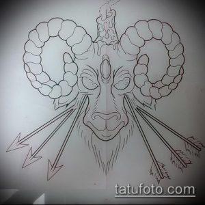 эскиз тату козел №816 - прикольный вариант рисунка, который хорошо можно использовать для переделки и нанесения как тату череп козла
