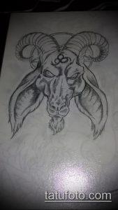эскиз тату козел №636 - уникальный вариант рисунка, который хорошо можно использовать для переработки и нанесения как тату козел ест траву