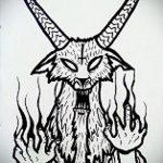 эскиз тату козел №207 - крутой вариант рисунка, который легко можно использовать для переделки и нанесения как тату череп козла