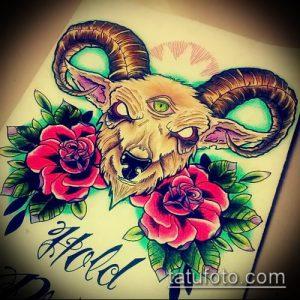 эскиз тату козел №551 - классный вариант рисунка, который успешно можно использовать для доработки и нанесения как тату козел ест траву