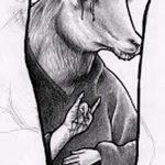 эскиз тату козел №766 - эксклюзивный вариант рисунка, который легко можно использовать для доработки и нанесения как тату козел олдскул