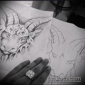 эскиз тату козел №393 - уникальный вариант рисунка, который хорошо можно использовать для доработки и нанесения как тату череп козла