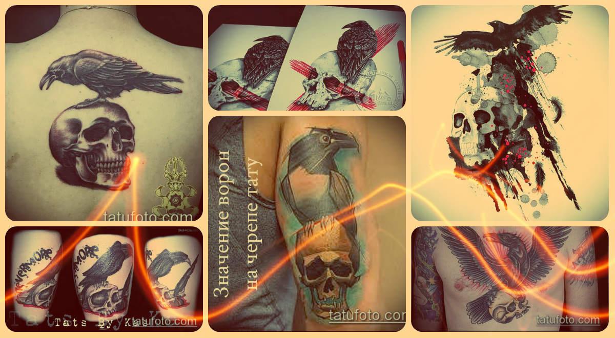 Значение ворон на черепе тату - фото примеры готовых тату