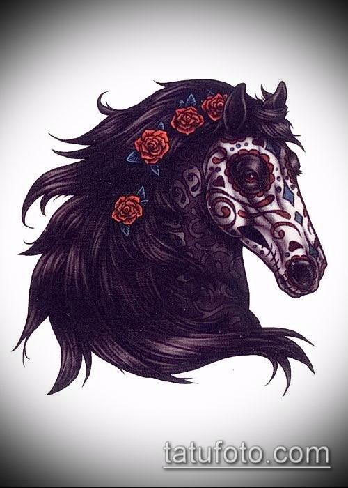 тату конь фото (значение) - пример интересного рисунка тату - 006 tatufoto.com