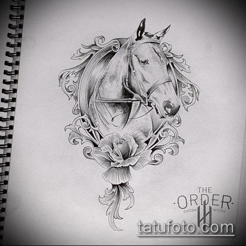 тату конь фото (значение) - пример интересного рисунка тату - 021 tatufoto.com