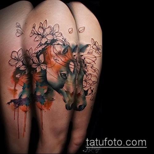 тату конь фото (значение) - пример интересного рисунка тату - 033 tatufoto.com