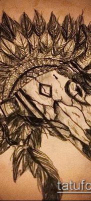 тату череп быка фото (значение) – пример интересного рисунка тату – 002 tatufoto.com