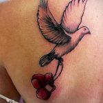 фото тату голубь №704 - эксклюзивный вариант рисунка, который успешно можно использовать для переработки и нанесения как тату на груди голуби