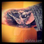 фото тату голубь №892 - эксклюзивный вариант рисунка, который успешно можно использовать для доработки и нанесения как тату голубь с гранатой