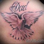 фото тату голубь №134 - достойный вариант рисунка, который хорошо можно использовать для доработки и нанесения как голубь мира тату