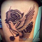 фото тату голубь №869 - эксклюзивный вариант рисунка, который удачно можно использовать для преобразования и нанесения как тату голубь на руке