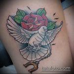 фото тату голубь №508 - достойный вариант рисунка, который удачно можно использовать для доработки и нанесения как тату голубь на руке