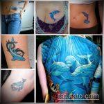 фото тату дельфин №469 - уникальный вариант рисунка, который легко можно использовать для переделки и нанесения как фото тату дельфина на запястье