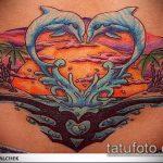 фото тату дельфин №563 - крутой вариант рисунка, который хорошо можно использовать для доработки и нанесения как фото тату дельфин на лодыжке