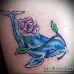 фото тату дельфин №741 - крутой вариант рисунка, который легко можно использовать для доработки и нанесения как фото тату дельфин на копчике