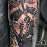 фото тату енот №787 - уникальный вариант рисунка, который удачно можно использовать для переделки и нанесения как фото тату енота на икре