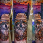 фото тату енот №275 - прикольный вариант рисунка, который успешно можно использовать для переделки и нанесения как фото тату енота на икре