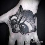 фото тату енот №103 - эксклюзивный вариант рисунка, который легко можно использовать для переделки и нанесения как тату эскизы енот на плечо