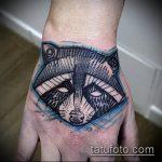 фото тату енот №977 - эксклюзивный вариант рисунка, который успешно можно использовать для доработки и нанесения как тату эскизы енот на плечо