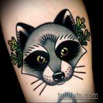 фото тату енот №236 - эксклюзивный вариант рисунка, который хорошо можно использовать для переработки и нанесения как фото тату енота на икре