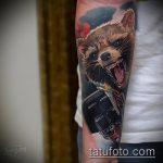 фото тату енот №757 - эксклюзивный вариант рисунка, который легко можно использовать для переделки и нанесения как тату эскизы енот на плечо