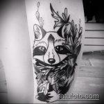 фото тату енот №774 - уникальный вариант рисунка, который хорошо можно использовать для доработки и нанесения как тату эскизы енот на плечо