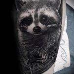фото тату енот №114 - интересный вариант рисунка, который хорошо можно использовать для преобразования и нанесения как фото тату енота на икре
