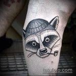 фото тату енот №232 - достойный вариант рисунка, который хорошо можно использовать для переделки и нанесения как фото тату енота на икре