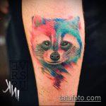 фото тату енот №558 - достойный вариант рисунка, который легко можно использовать для переработки и нанесения как фото тату енота на икре