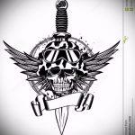 эскиз военных тату №692 - эксклюзивный вариант рисунка, который успешно можно использовать для переработки и нанесения как тату военная разведка летучая мышь