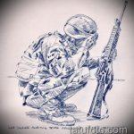 эскиз военных тату №785 - интересный вариант рисунка, который удачно можно использовать для переделки и нанесения как тату военная разведка летучая мышь