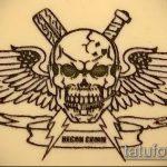 эскиз военных тату №232 - достойный вариант рисунка, который хорошо можно использовать для доработки и нанесения как военное тату на плече