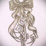 эскиз тату бантик №52 - классный вариант рисунка, который удачно можно использовать для переделки и нанесения как тату бантик на ступне