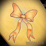 эскиз тату бантик №214 - классный вариант рисунка, который хорошо можно использовать для преобразования и нанесения как тату бантики на руках