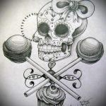 эскиз тату бантик №979 - интересный вариант рисунка, который легко можно использовать для преобразования и нанесения как тату бантик на ступне