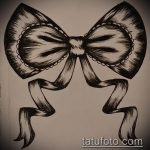 эскиз тату бантик №727 - достойный вариант рисунка, который хорошо можно использовать для переработки и нанесения как тату бантики на ляжках