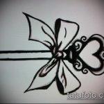 эскиз тату бантик №174 - достойный вариант рисунка, который удачно можно использовать для переделки и нанесения как тату бантики под ягодицами