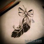 эскиз тату бантик №585 - крутой вариант рисунка, который хорошо можно использовать для доработки и нанесения как тату бантик на спине