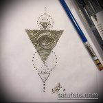 эскиз тату глаз в треугольнике №843 - уникальный вариант рисунка, который удачно можно использовать для доработки и нанесения как тату глаз в треугольнике на шее