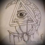 эскиз тату глаз в треугольнике №268 - достойный вариант рисунка, который легко можно использовать для доработки и нанесения как тату глаз в треугольнике и сова
