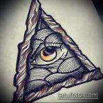 эскиз тату глаз в треугольнике №43 - эксклюзивный вариант рисунка, который удачно можно использовать для переделки и нанесения как тату глаз в треугольнике на запястье