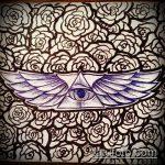 эскиз тату глаз в треугольнике №749 - достойный вариант рисунка, который легко можно использовать для переработки и нанесения как тату глаз в треугольнике на шее