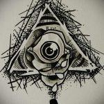 эскиз тату глаз в треугольнике №692 - уникальный вариант рисунка, который хорошо можно использовать для преобразования и нанесения как тату глаз в треугольнике на плече