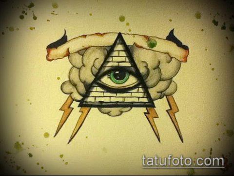 эскиз тату глаз в треугольнике №549 - классный вариант рисунка, который легко можно использовать для переделки и нанесения как тату глаз в треугольнике на ноге